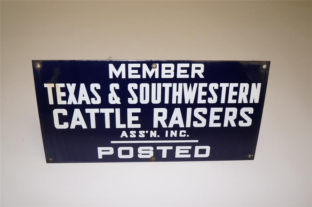 1940s Texas Cattle Raisers Association Posted single-sided porcelain sign. - Front 3/4 - 130501