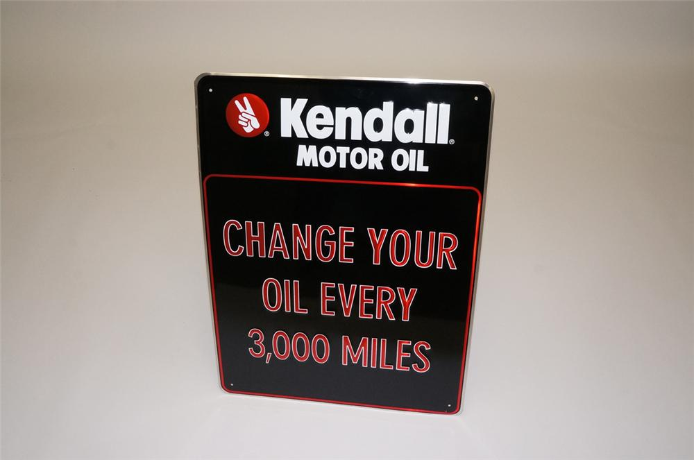 "N.O.S. Kendall Motor Oil ""Change Your Oil Every 3,000 Miles"" embossed tin garage sign. - Front 3/4 - 130504"