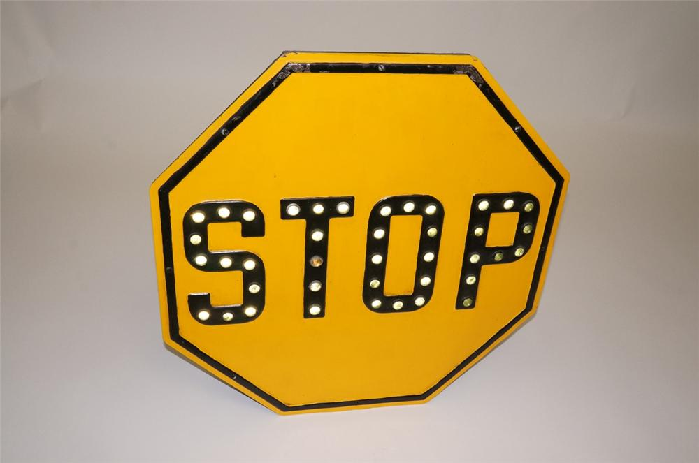 "1920s-30s cast metal ""STOP"" sign with green cat-eyes glass reflectors. - Front 3/4 - 130505"