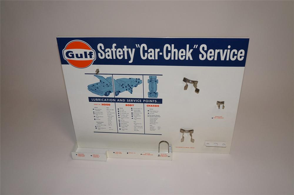 "Neat N.O.S. 1960s Gulf Oil ""Safety Car-Chek"" Service single-sided tin painted service station display sign with period autom... - Front 3/4 - 130507"