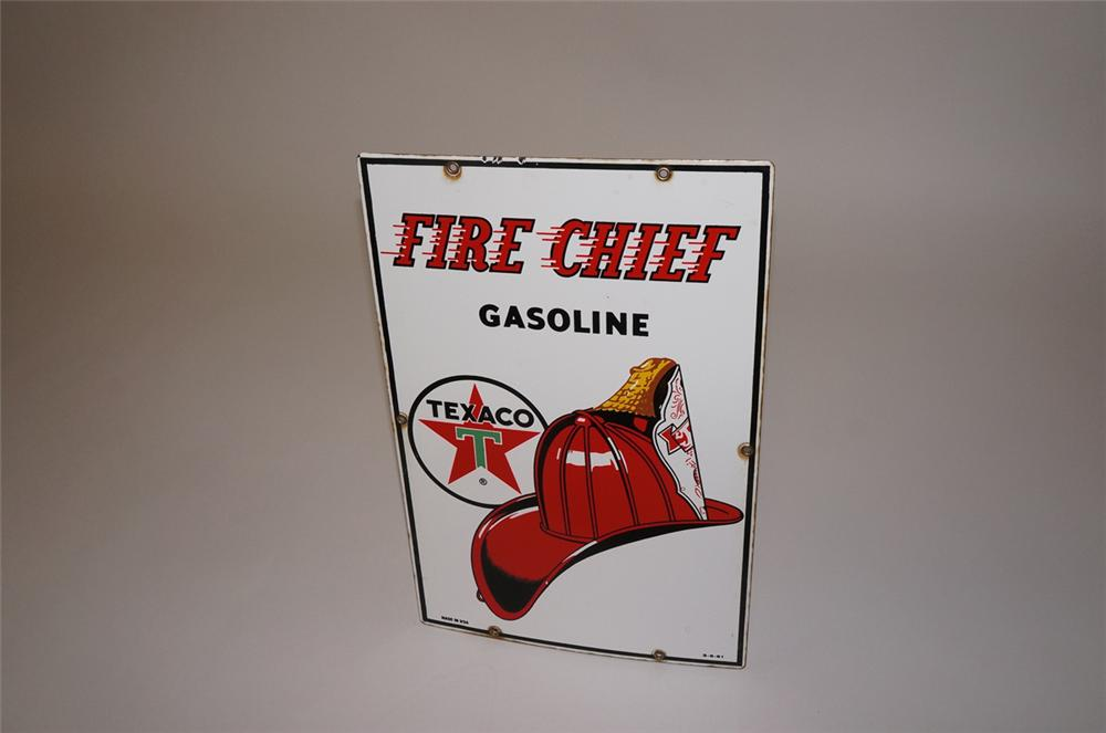Very nice 1961 Texaco Fire Chief Gasoline single-sided porcelain pump plate sign. - Front 3/4 - 130508