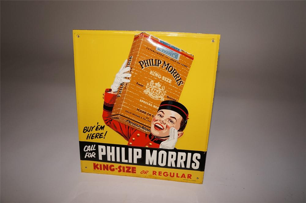 Terrific 1940s-50s Phillip Morris embossed tin sign with killer Bell-Boy graphic. - Front 3/4 - 130510