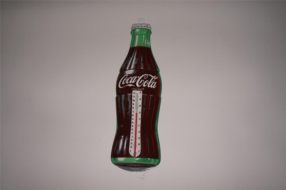 N.O.S. late 1950s Coca-Cola die-cut tin bottle shaped thermometer. - Front 3/4 - 130512