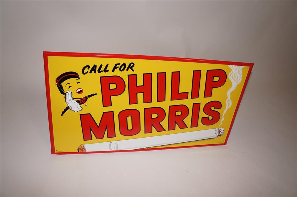 Large N.O.S. 1950s Phillip Morris Cigarettes embossed tin sign with Bell Boy logo. - Front 3/4 - 130514