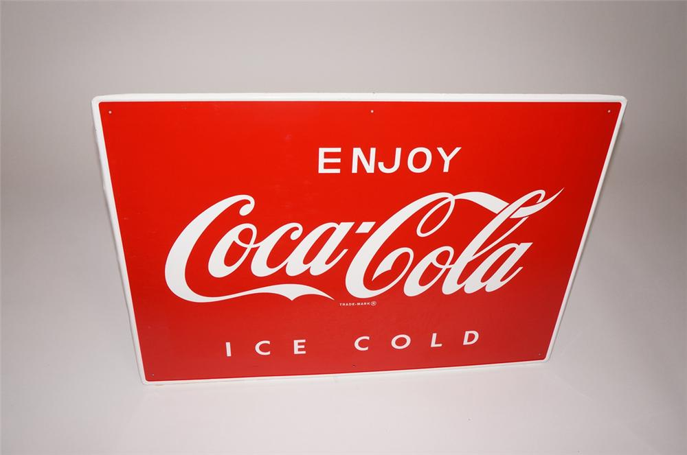 N.O.S. 1960s Enjoy Coca-Cola Ice-Cold tin general store sign. - Front 3/4 - 130515