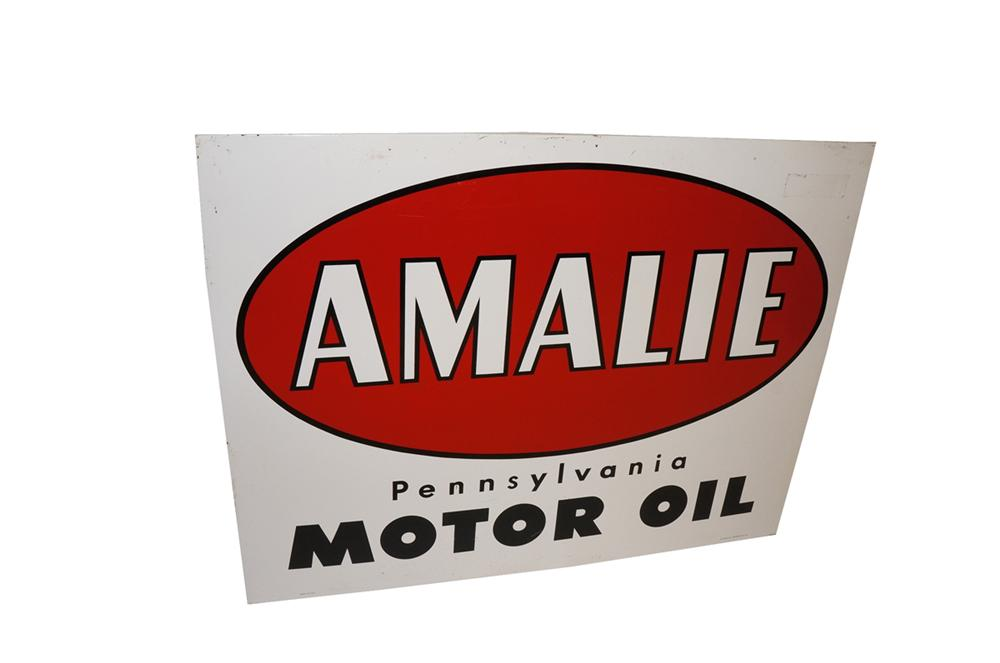 Large 1961 Amalie Pennsylvania Motor Oil single-sided tin garage sign. - Front 3/4 - 130518