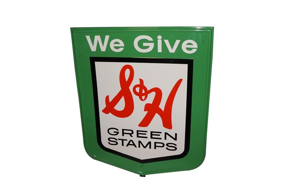 Large N.O.S. S&H Green Stamps single-sided tin painted service station sign. - Front 3/4 - 130519