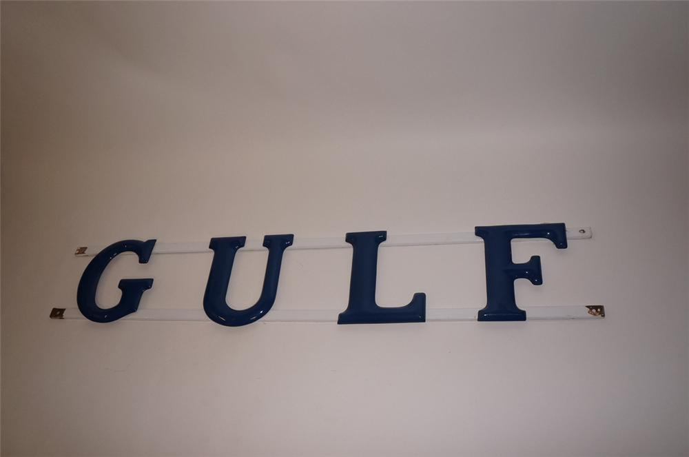 Sharp 1950s Gulf Oil service station porcelain marquee letter sign. - Front 3/4 - 130523