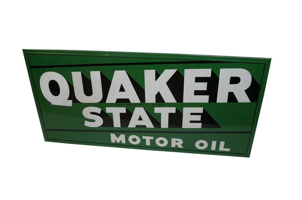 Choice large N.O.S. late 1950s Quaker State Motor Oil wood-framed embossed tin garage sign. - Front 3/4 - 130524
