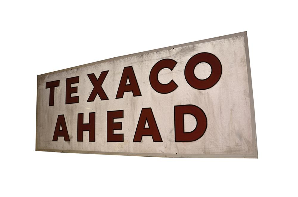 Large 1950s Texaco Ahead wood framed reflecting paint tin road sign. - Front 3/4 - 130526