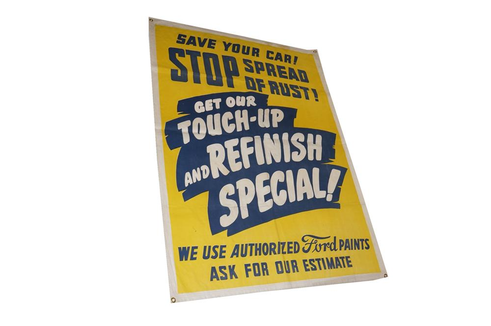 "Never before seen 1940s-50s Ford Automotive ""Touch-Up and Refinish"" service department canvas banner. - Front 3/4 - 130527"