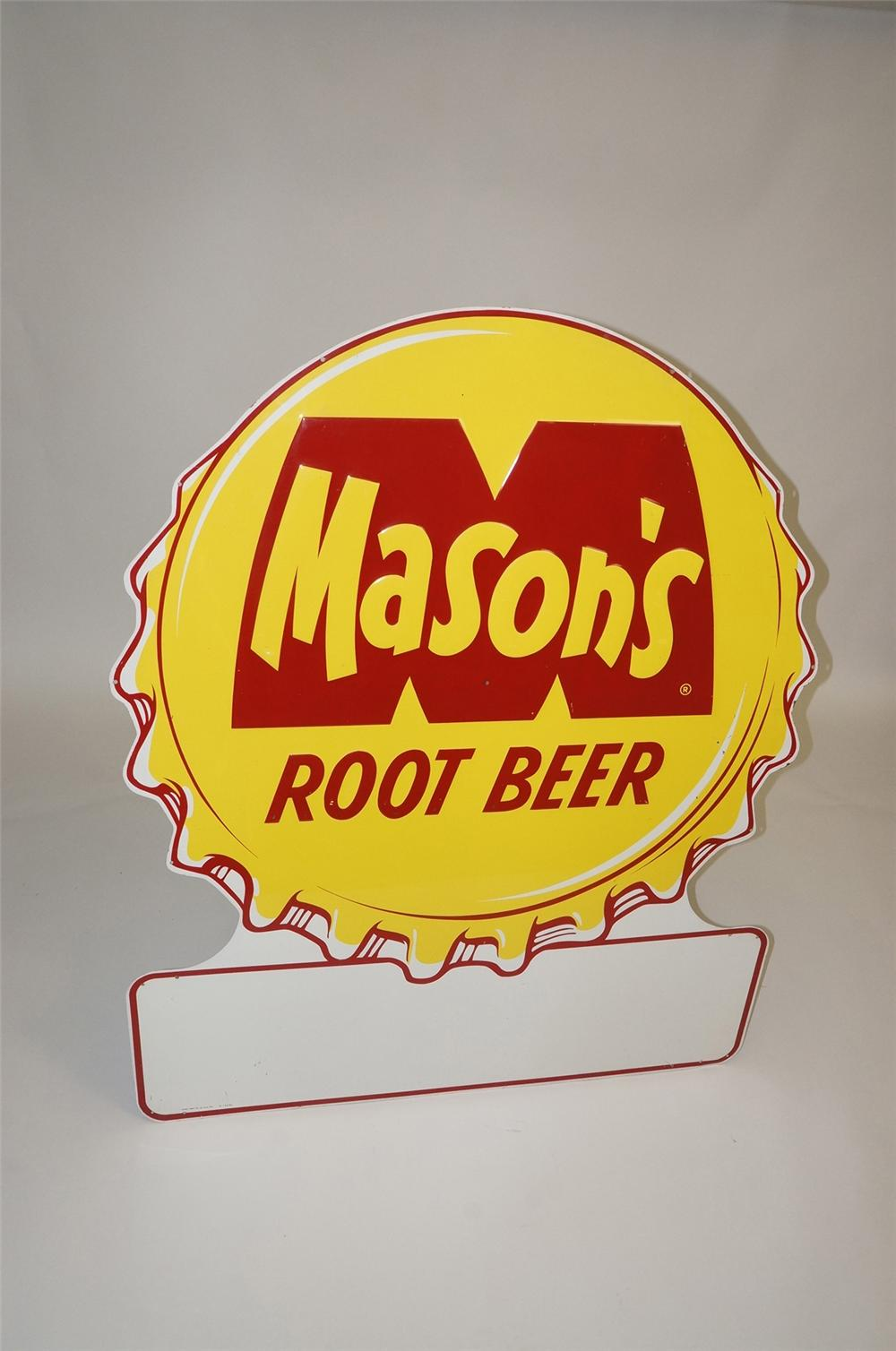 Large 1956 Masons Root Beer embossed tin bottle-cap shaped general store sign. - Front 3/4 - 130529