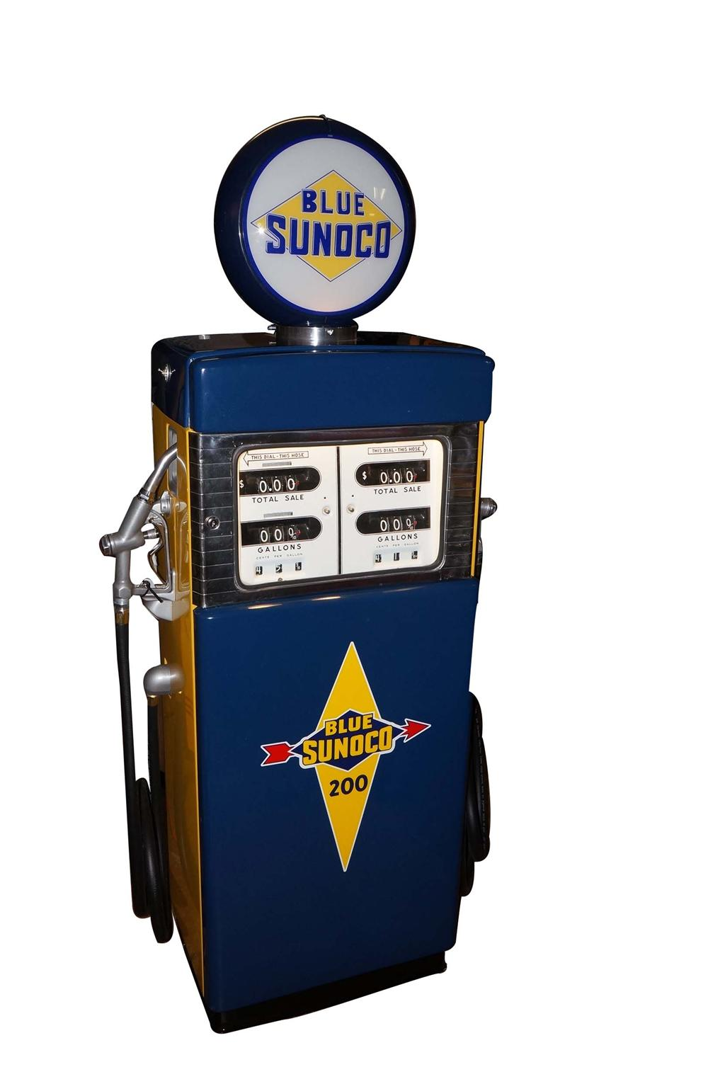 Rare late 1950s-early 60s Sunoco Oil dual blend service station gas pump. - Front 3/4 - 130534
