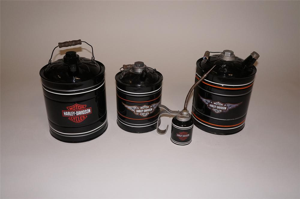 Lot of four 1930s Harley-Davidson restored service department oil/fluid cans. - Front 3/4 - 130537
