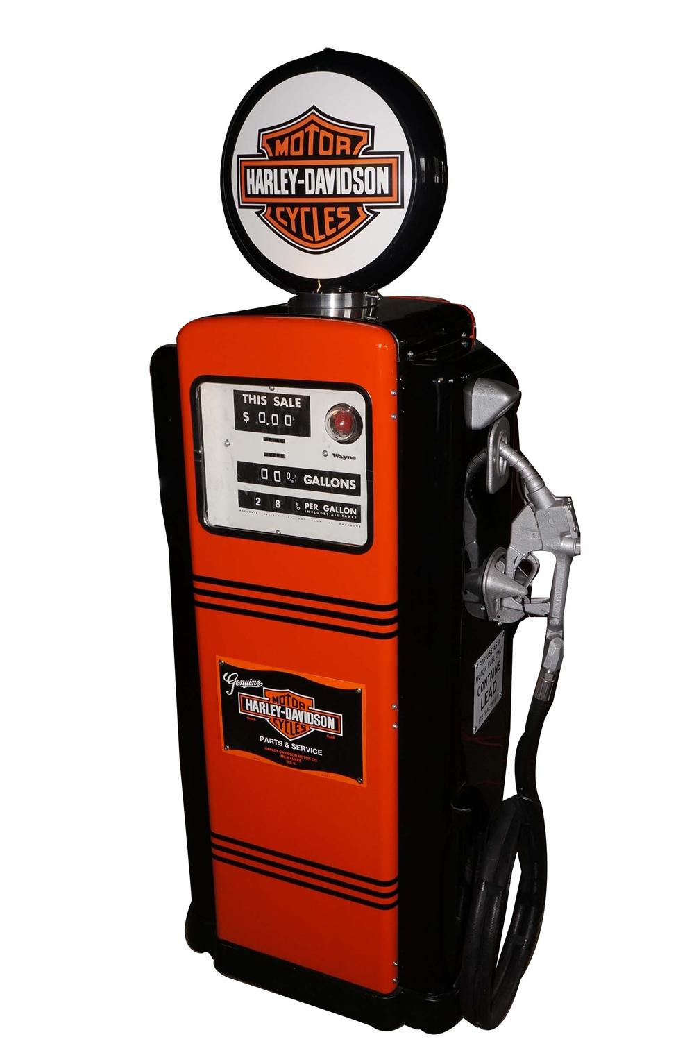 Very cool 1950s Wayne 100 gas pump restored in Harley-Davidson regalia. - Front 3/4 - 130538