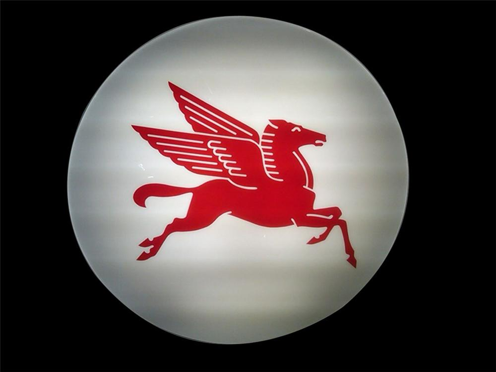 "1960S-70S Mobil Oil single-sided light-up service station sign featuring the iconic ""Pegasus"". - Front 3/4 - 130547"