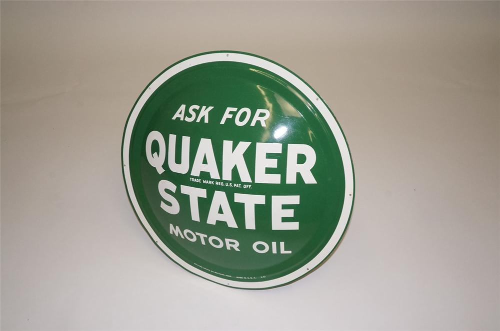 N.O.S. 1960s Quaker State Motor Oil single-sided concave tin painted bulls-eye sign. - Front 3/4 - 130548