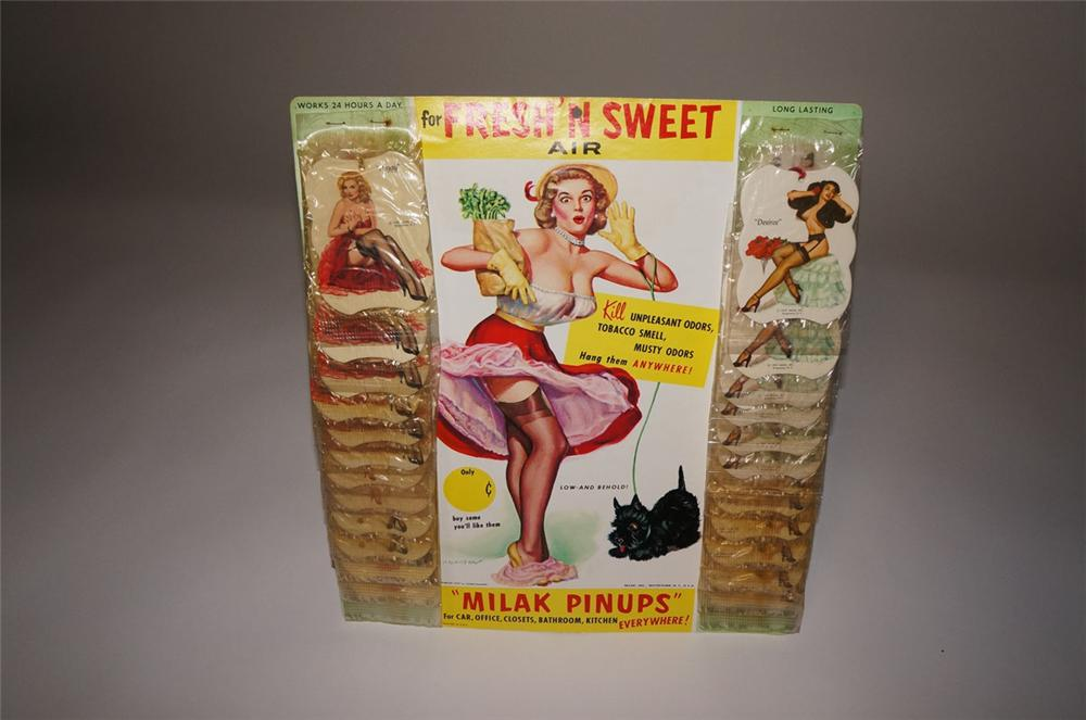 "Wonderful N.O.S. 1957 ""Milak Pinups"" rear view mirror air freshener display filled with original pin-up girls. - Front 3/4 - 130549"