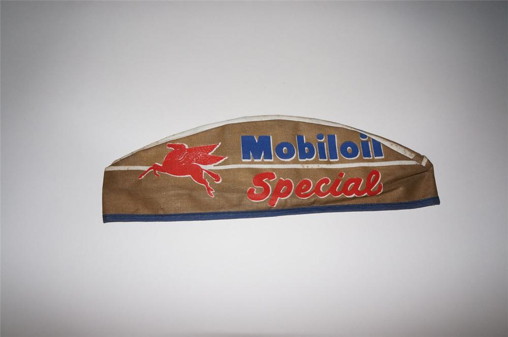 N.O.S. 1950s Mobil Oil Special service attendants station hat. - Front 3/4 - 130550
