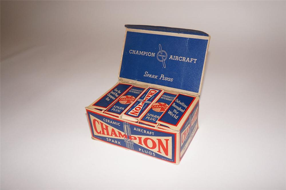 Rare 1930s Champion Aircraft Ceramic Spark Plugs airport service hanger display box. - Front 3/4 - 130554