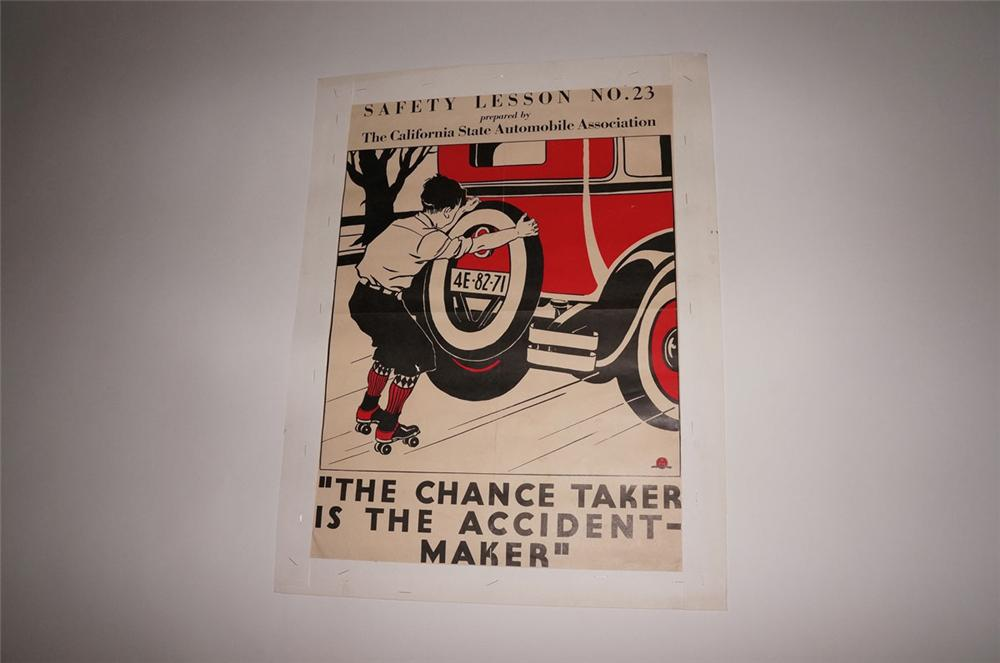 Nifty N.O.S. 1932 California State Automobile Association safety poster. - Front 3/4 - 130555