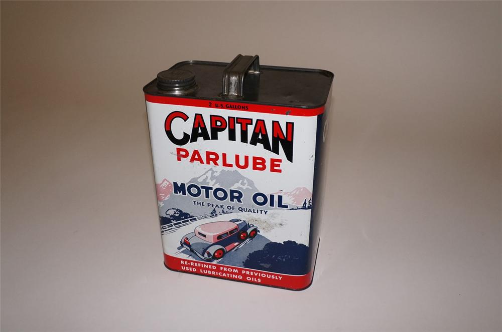 Incredible 1930s Capitan Motor Oil two-gallon tin with outstanding period car graphics - Front 3/4 - 130559