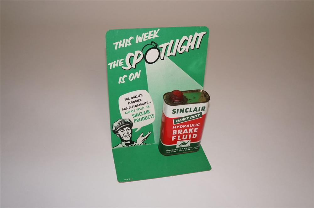"Very cool N.O.S. 1952 Sinclair Oil service station ""Product Spotlight"" cardboard display sign with original tin. - Front 3/4 - 130560"