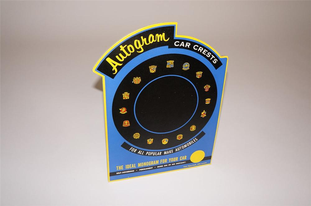 N.O.S. 1950s Autogram Car Crests auto-dealership service department cardboard counter-top display. - Front 3/4 - 130561