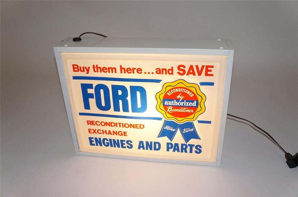 Choice 1950s-60s Ford Reconditioned Engines and Parts dealership light-up parts department sign. - Front 3/4 - 130569