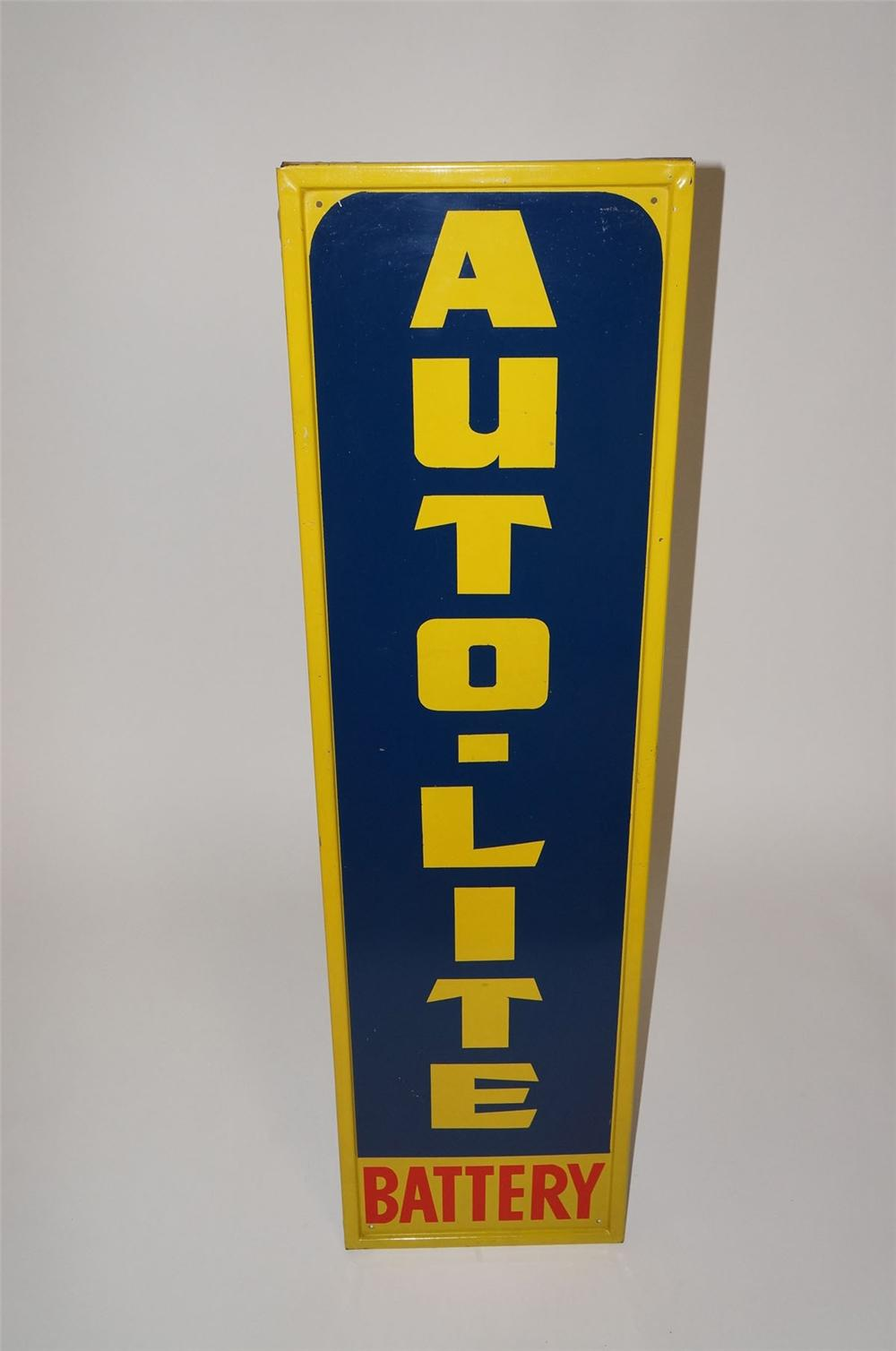 Unusual 1940s Auto-Lite Battery self-framed tin dealership sign. - Front 3/4 - 130570