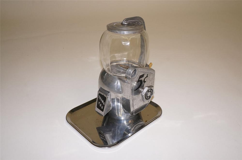 Very neat 1947 Atlas Bantam five cent aluminum peanut machine with built in tray. - Front 3/4 - 130574