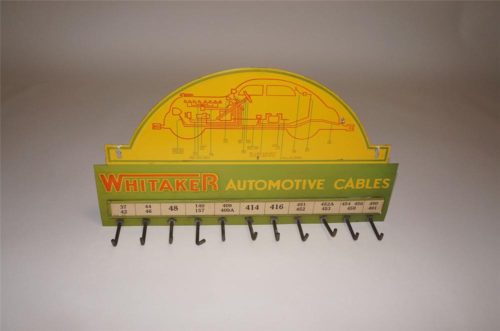 Wonderful 1935 Whitaker Automotive Cables automotive garage display rack sign with period vehicle depicted. - Front 3/4 - 130576