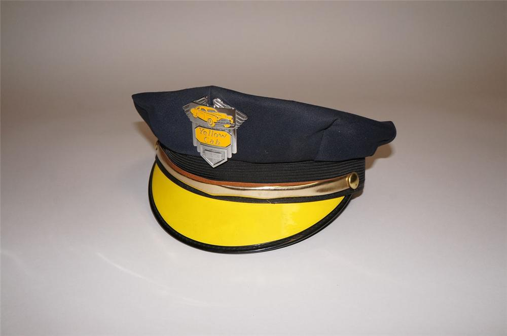 Very cool 1950s Yellow Cab company drivers hat with original badge. - Front 3/4 - 130577