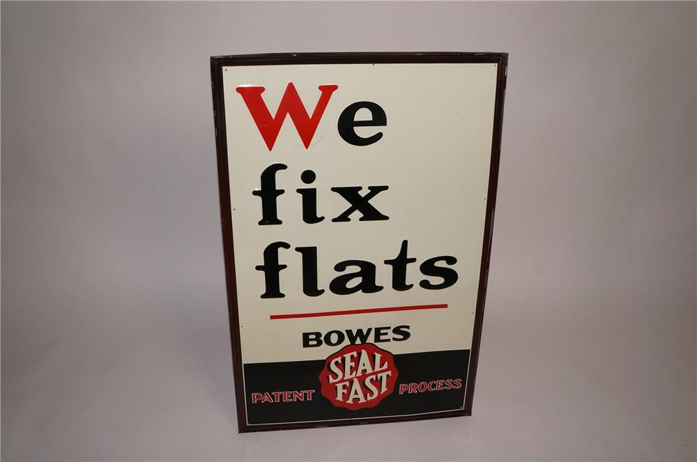 "Unusual 1930s Bowes ""We Fix Flats"" self-framed embossed tin garage sign. - Front 3/4 - 130580"