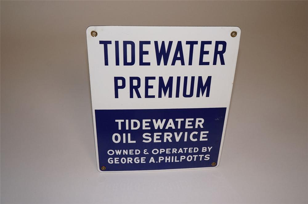 Scarce 1950s Tidewater Premium Gasoline - Tidewater Oil Service single-sided porcelain pump plate sign. - Front 3/4 - 130581