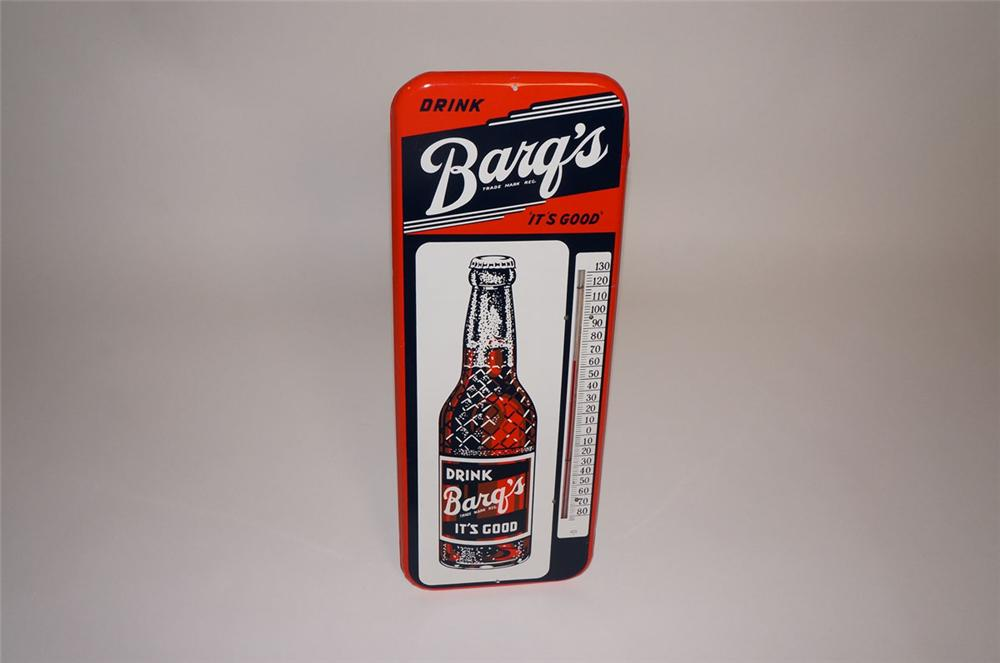 N.O.S. 1945 Barqs Root Beer over-sized tin painted service station thermometer with bottle graphic. - Front 3/4 - 130583