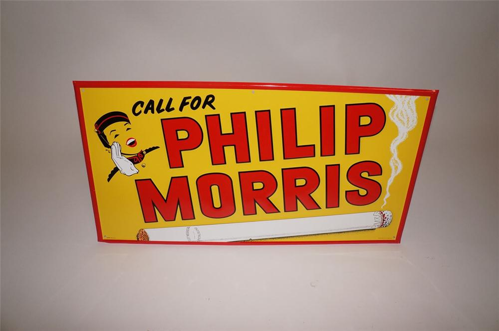 N.O.S. 1950s Phillip Morris embossed tin general store sign. - Front 3/4 - 130584