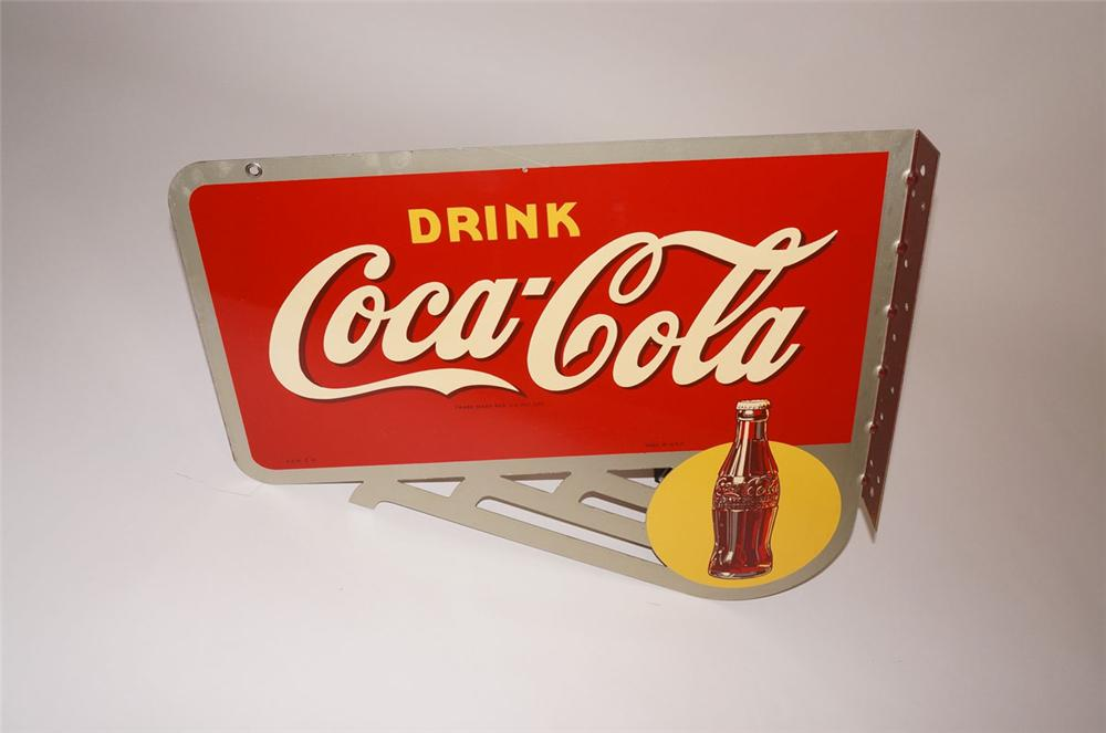 Amazing N.O.S. 1946 Drink Coca-Cola sunburst with bottle graphic double-sided tin painted flange sign. - Front 3/4 - 130585