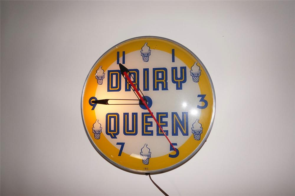Killer 1950s Dairy Queen glass faced light-up soda fountain clock. - Front 3/4 - 130586