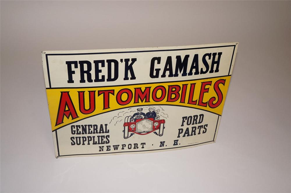 Wonderful N.O.S. 1920s FredK Gamash Automobiles - Ford Supplies tin dealership sign - Front 3/4 - 130589