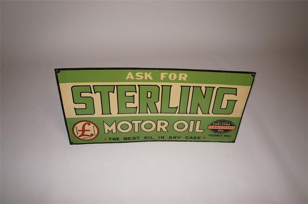 "1930s Sterling ""Pennsylvania"" Motor Oil single-sided embossed tin garage sign. - Front 3/4 - 130591"
