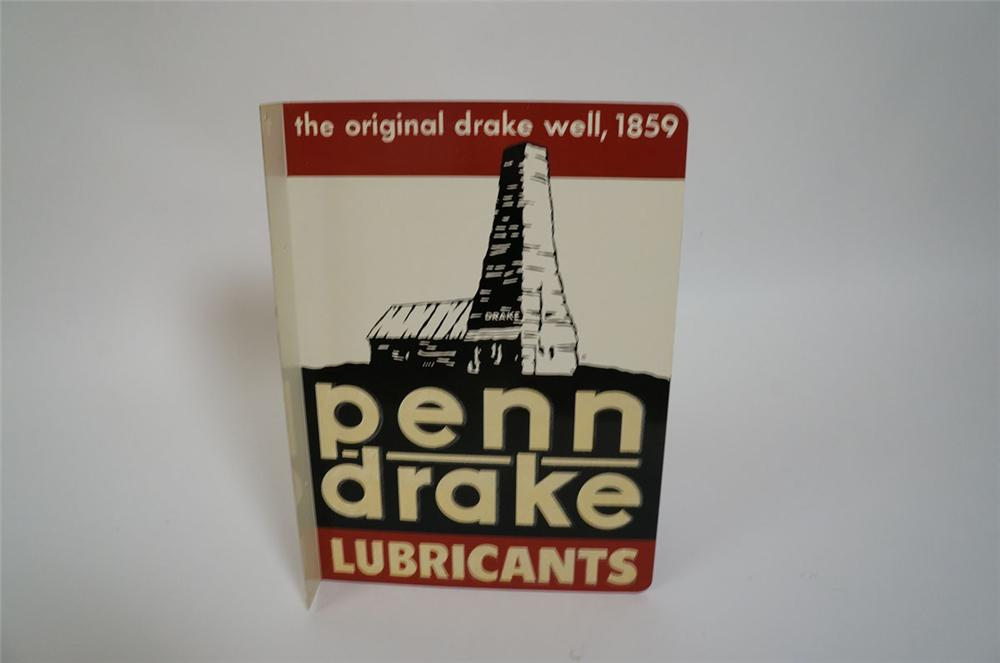 N.O.S. 1940s Penn Drake Lubricants double-sided tin painted service station flange with oil well graphic. - Front 3/4 - 130592