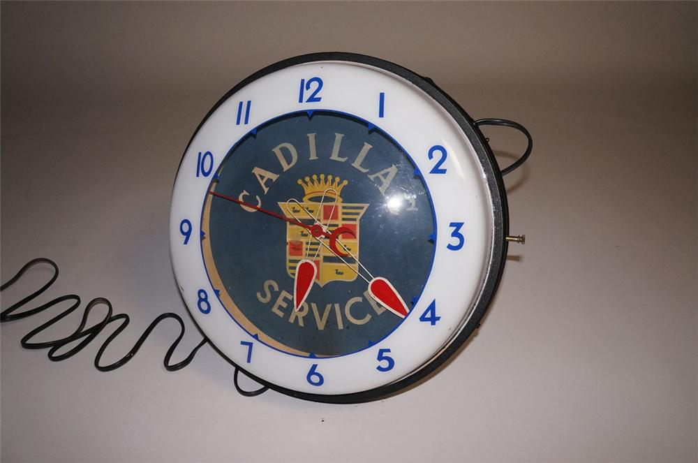 Rare 1950s Cadillac Service neon light-up dealership showroom clock by Neon Products of Ohio. - Front 3/4 - 130597