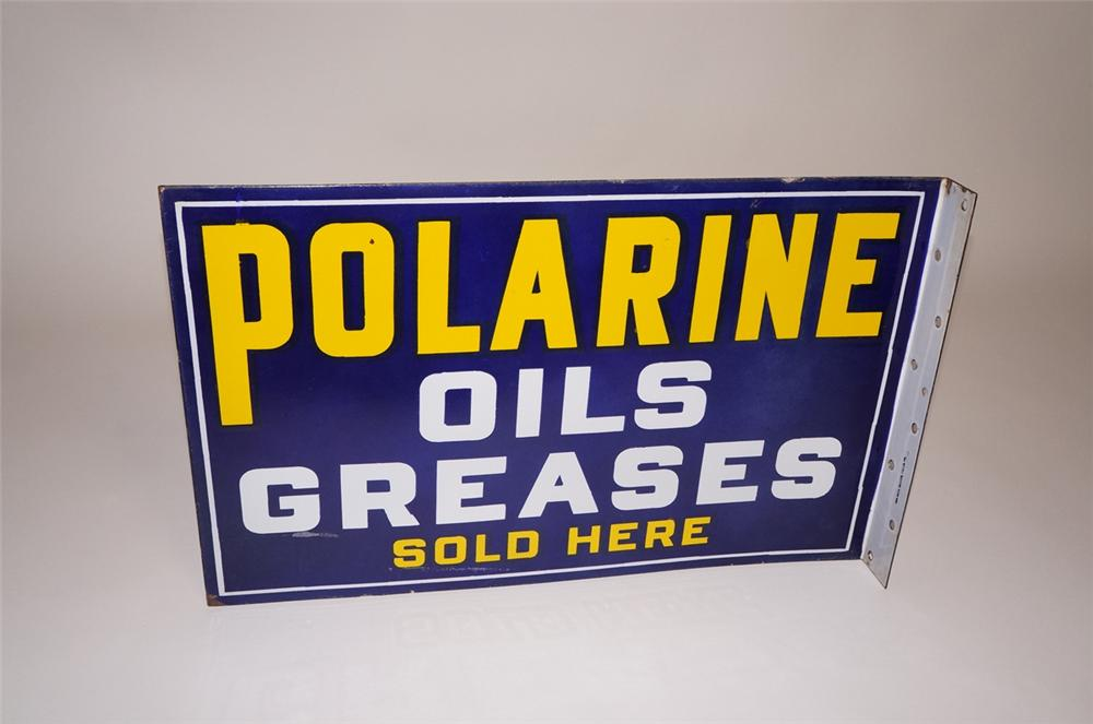 Phenomenal 1930s Standard Oil Polarine Motor Oils-Greases Sold Here double-sided porcelain filling station sign. - Front 3/4 - 130600