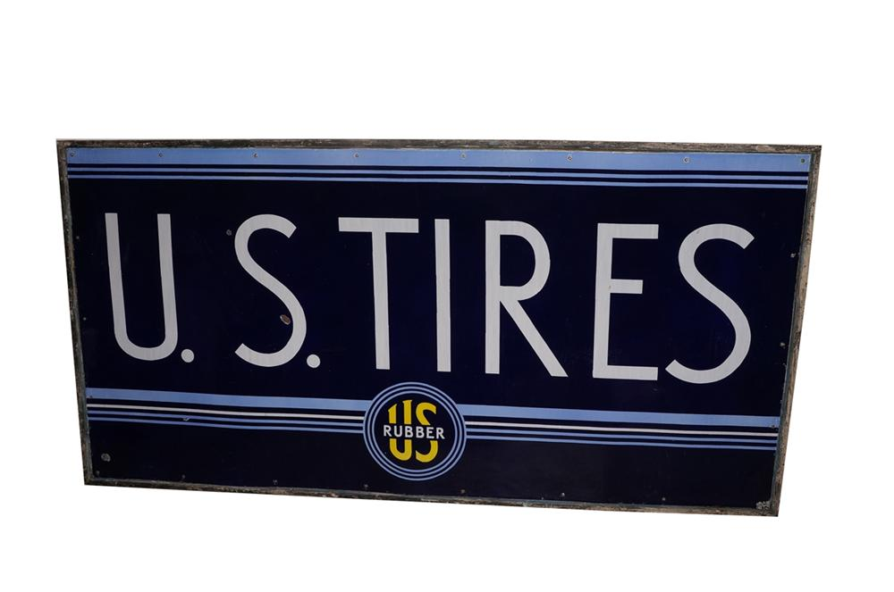 Unusual version large 1930s U.S. Tires single-sided wood framed porcelain garage sign. - Front 3/4 - 130602