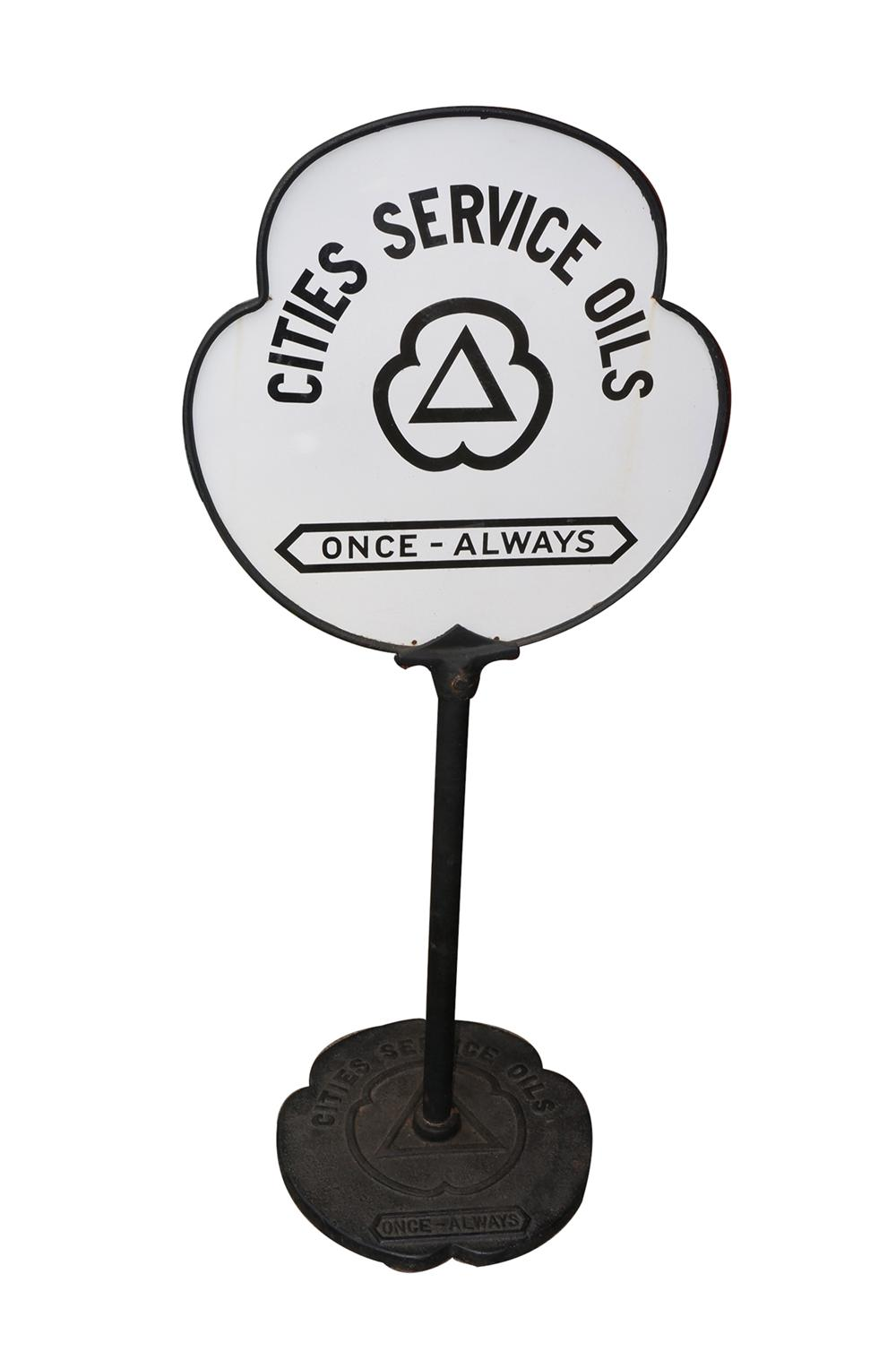 Rare 1930s Cities Service Oils clover shaped double-sided porcelain service station sign curb sign in original stand. - Front 3/4 - 130604
