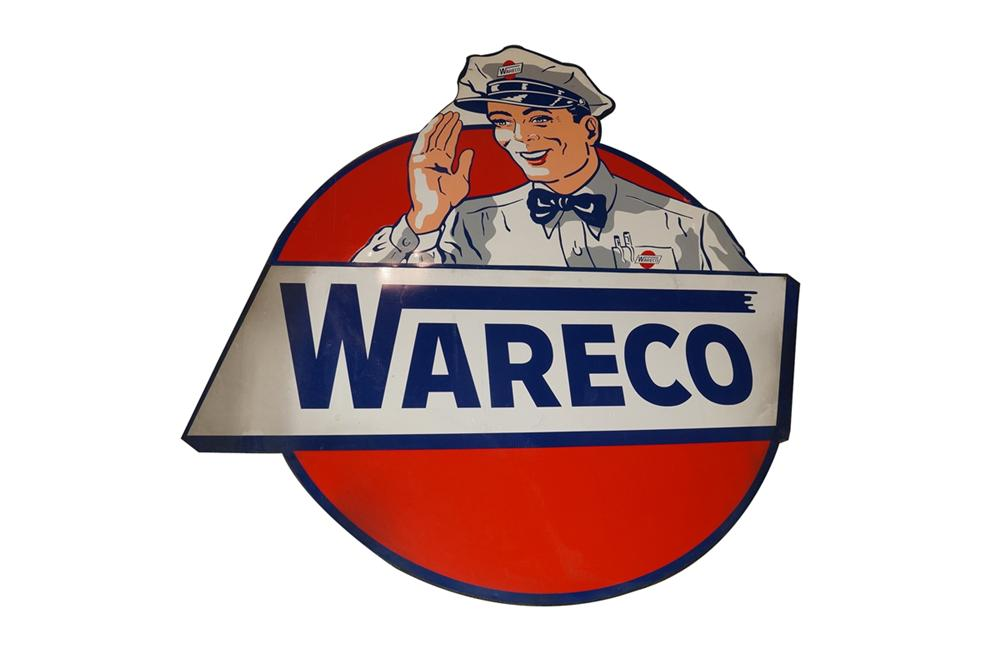 Museum quality 1940s-50s Wareco Oil large single-sided wood framed tin service station sign - Front 3/4 - 130608