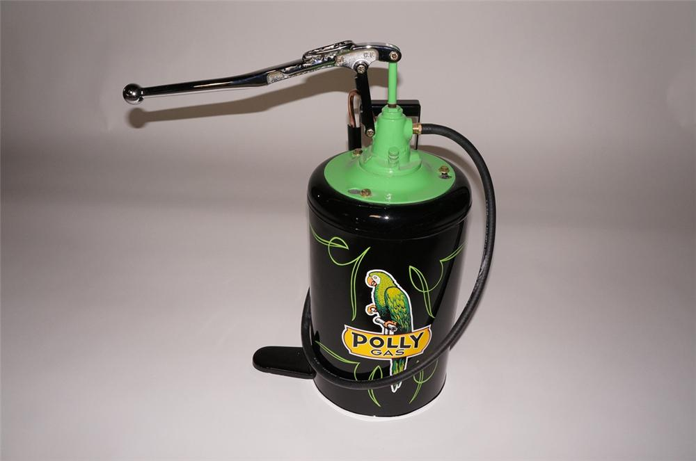 Distinctive 1940s-50s Polly Oil five gallon hand pump service department greaser. - Front 3/4 - 130609