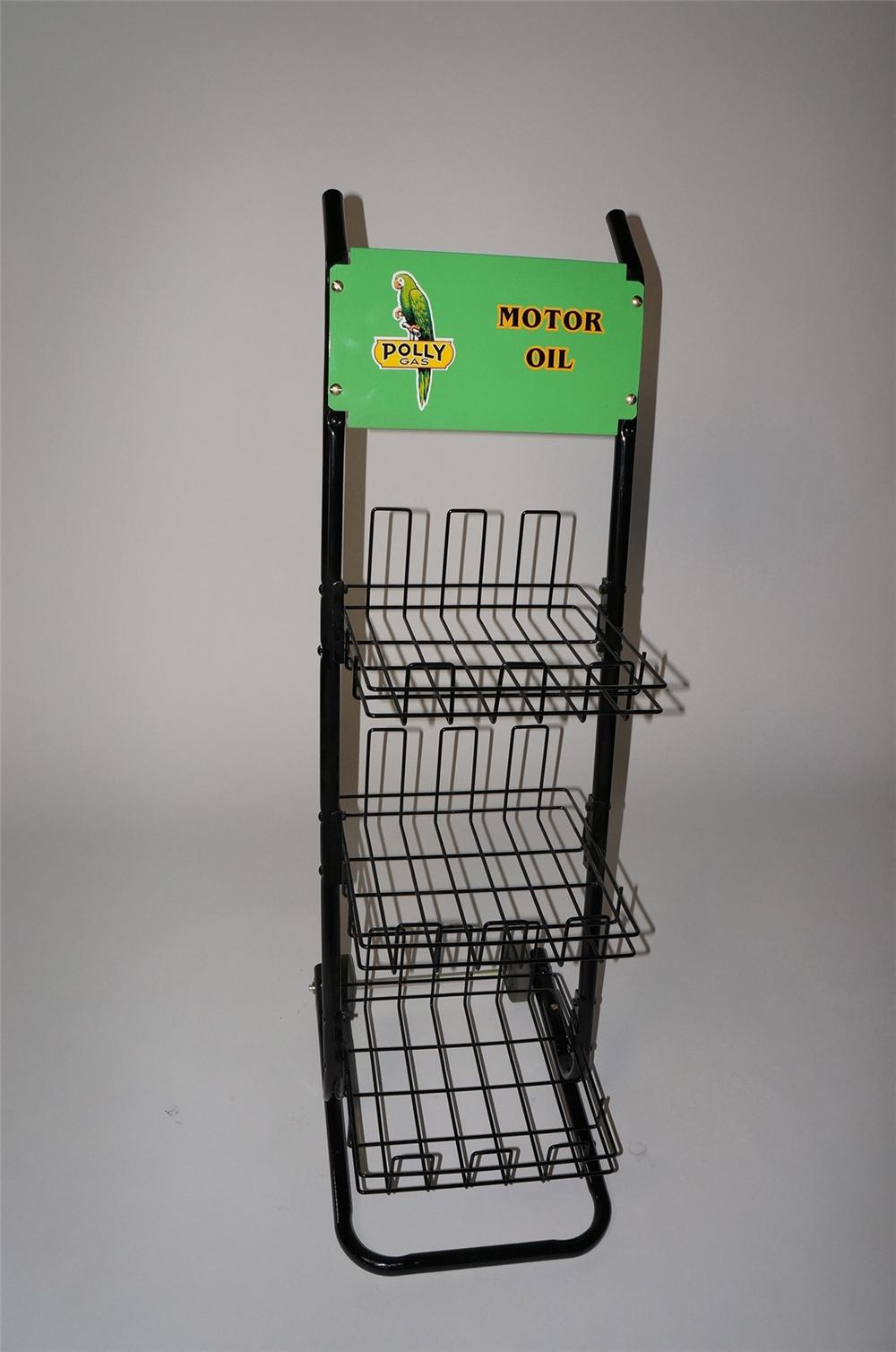 Fabulous 1950s restored Polly Oil service station fuel island display cart for oil/batteries, and more. - Front 3/4 - 130612