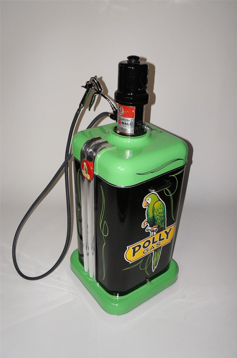 Killer 1950s restored Polly Oil Graco Air Power Fire Ball service department greaser on wheels. - Front 3/4 - 130614